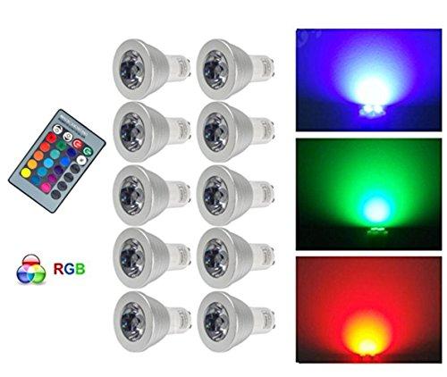 G-Anica® 10 stuks GU10 RGB LED-lampen 3 W 16 kleuren kleurverandering RGB LED Bulb 250-270 lm LED met afstandsbediening knop AC95-240 V [Energie-efficiëntieklasse A ]