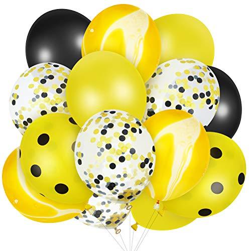 Hsei 60 Piezas Globos de Abeja Globos de Puntos Lunares Amarillos Globos de Confeti Amarillo para Fiesta de Cumpleaños Oficina Boda Baby Shower de Día de Abeja