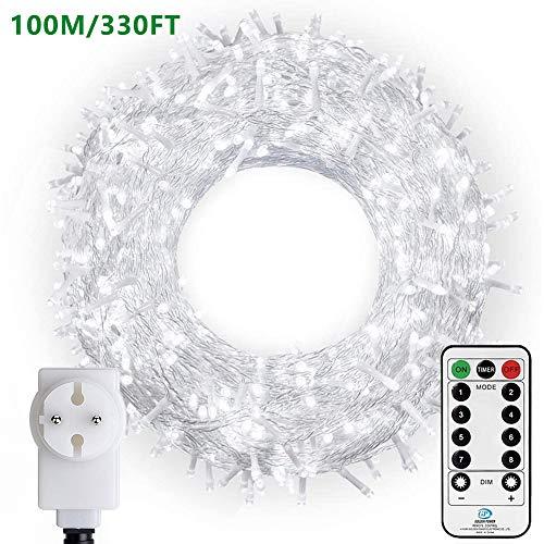 LED Lichterkette 100M 800 LEDs Ollny Weihnachtslichtkette IP44 Wasserdicht mit Fernbedienung & Timer 8 Modi Partydekoration für Weihnachten Geburstag Hochzeit Wohnzimmer Kinderzimmer (Kaltweiß)