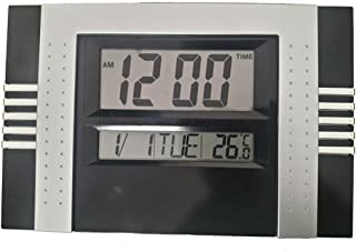 Relógio Digital Para Parede Mesa Retangular 30X20 (Preto)