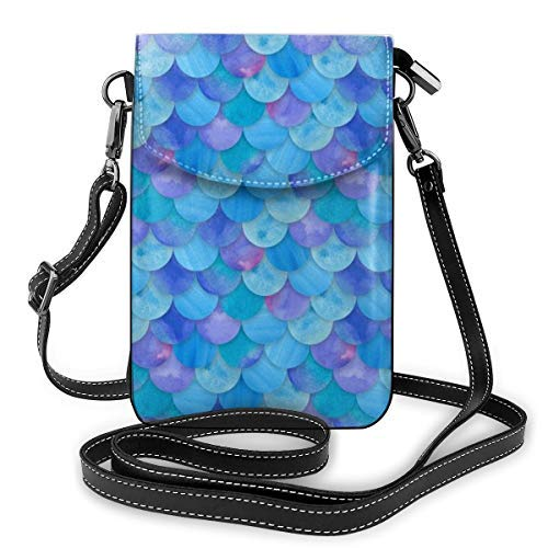 XCNGG Small Crossbody Cell Phone Purse Wallet with Credit Card Slots Lightweight Roomy Adjustable Shoulder Strap Mermaid Fish Scales Blue Crossbody Bags Handbags for Women
