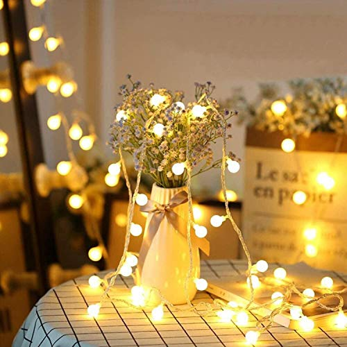LED Christmas Lights, Wedding Lights Decorations, 33ft 100 LED Warm White Ball String Lights Plug in, Waterproof Decoration Lights for Christmas/Patio/Garden/Party/Room/Wedding, with 8 Lighting Modes