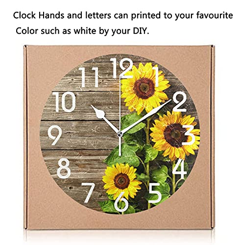 Naanle Stylish 3D Beautiful Sunflowers Vintage Wood Autumn Round Wall Clock, 9.5 Inch Battery Operated Quartz Analog Quiet Desk Clock for Home,Office,School