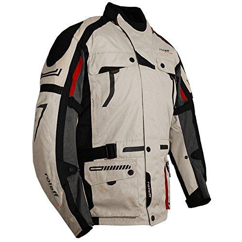 Helle Motorradjacke mit Protektoren, Belüftungssystem, Klimamembrane und herausnehmbarem Thermofutter von Roleff Racewear