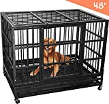 Lemberi Heavy Duty Dog Cage Crate, Pet Kennel Strong Metal for Training Large Dog, Easy to Assemble, with Two Prevent Escape Lock, Lockable Wheels, Removable Tray for Indoor Outdoor(48in, Black)