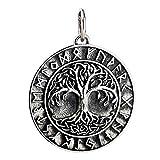 FORFOX Colgante Yggdrasil árbol de la Vida Vikingo de Plata de Ley 925 Negro para...