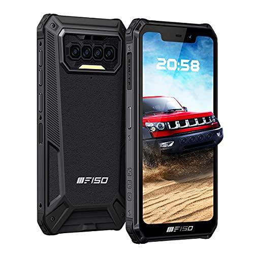 Outdoor Smartphone ohne Vertrag, IIIF150 B2021 4G Dual SIM Outdoor Handy, 6GB+64GB, 256GB Externe SD, Android 10 Handy, 8000 mAh Akku, 5,86 Zoll, Quad Kamera, IP68 Wasserdicht, NFC Face ID Schwarz