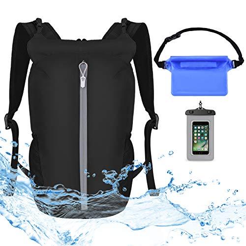 VBIGER Dry Bag wasserdichte Tasche - 20L Rucksack Faltbar Packsack mit Wasserdichter Handytasche und Bauchtasche Für Kajak|Boot|Strandsafe|Kanu|Stand Up Paddling|Wandern|Tauchen|Schlauchboot|Angeln