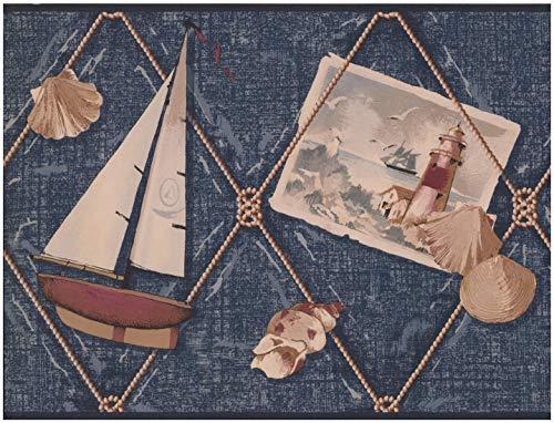 York Wallcoverings Sailboat Anchor Shell Lighthouse Denim Blue