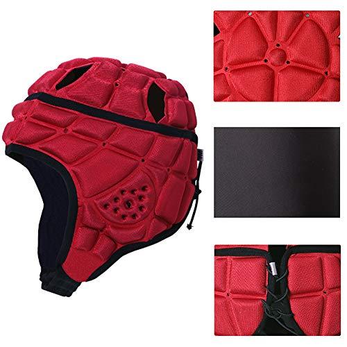MCLseller Rugby-Kopfschutz für Kinder, Rugby-Rollermütze, weicher Sport-Schutzhelm für Fußball, Baseball, Torwart, Kopfschutz, rot, Größe S