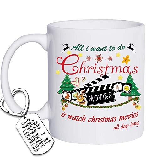 Christmas Coffee Mug, This Is My Christmas Movie Watching Mug Tea Cup Ceramic Coffee Mug 11 Ounce Bonus A Keychain