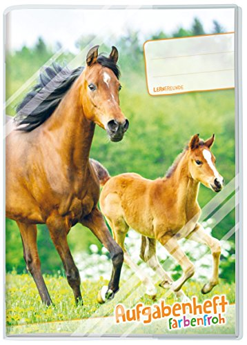 Takenboek kleurrijk A5 [paarden], huisdagboek voor een schooljaar, dagen in verschillende kleuren