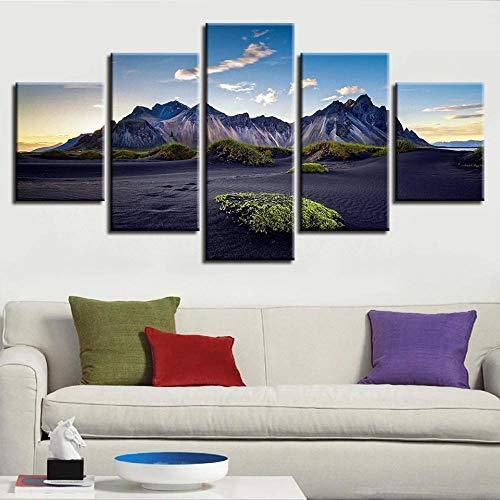 ARIE 5 Piezas Cuadro Cielo Azul, Nubes Blancas Y Paisajes Naturales De Montaña. 5 Piezas Impresión En Lienzo Tablero del Moderno Cuadro De Pintura Póster De Arte Sala De Decoración Hogareña