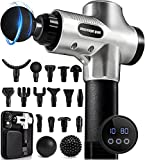Percussion Massage Gun for Athletes with 35 Speeds Deep Tissue Percussion Muscle Gun with Professional15 Heads Massager Comfortable Muscle Soreness Relieves (Silver)
