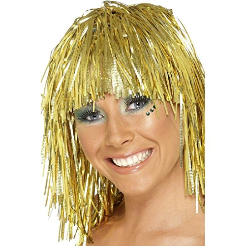 NET TOYS Lametta Perücke Disco Damenperücke Gold Glamour Lamettaperücke Glitzerperücke Karnevalsperücke