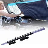 Car Windshield Sun Shade,Retractable Sun Shade Windshield,Car Sunshades for Windshield Fits Front Window of Various Models ,Keep Your Vehicle Cool,Block Heat and UV Rays,2021 Latest Sticky Upgrade