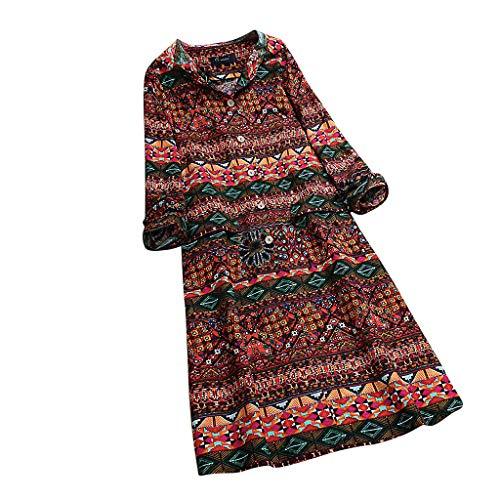HEVÜY Tunika Kleid Boho Bohemian Kleid Vintage Kleid Lose Casual Swing Kleid mit Gerafft Schmeichelhaft