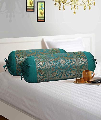 Stylo Culture Ronda Decorativa Tejido De Brocado De Jacquard Cilíndrica Fundas De Almohadas 70x40 Fundas para Cojines Bolster Covers Verde Elefante Polidupion Tradicional Largo For Settee (Set of 2)
