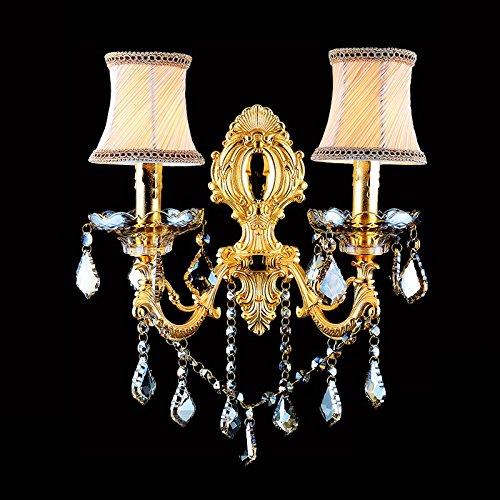 VanMe Crystal Européen Bougie Lampe Salon Chambre Couloir Créatif Mur Lampe Lampe De Chevet,Double Tête Type-A 43 * 43 Cm