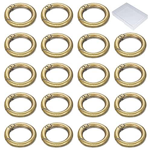 Xihuimay 30 anillos multiusos anillos metal anillo de resorte de aleación de zinc Mosquetón redondo Mosquetón clip para monederos llavero DIY mano artesanía organización accesorios, 20 mm bronce