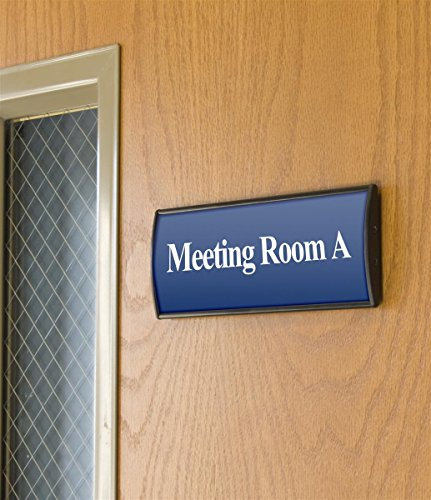 """Set of 5, Office Sign Holders for Wall Mount, Curved Name Plate Frames for 3""""w x 8""""h Signage, Includes Double-Sided Adhesive for Mounting - Aluminum, Black"""