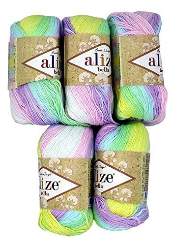 Alize Bella 5 x 50 Gramm Baumwolle Mehrfarbig mit Farbverlauf, 250 Gramm Wolle aus 100% Baumwolle, Strickwolle (Flieder rosa blau u.a. 2132)