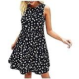 Meitianfacai Summer Polka Dot Print Tank Dress for Women's Casual Dresses Fashion Sleeveless A Line Loose Swing Pockets Dress Black