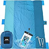 WELLAX Beach Blanket Waterproof Sandproof for 4 - 7 Adults, Oversized Lightweight Corner Pockets Picnic Mat 9' x 10', Outdoor Blanket with 4 Metal Stakes for Travel, Camping, Hiking and Festivals