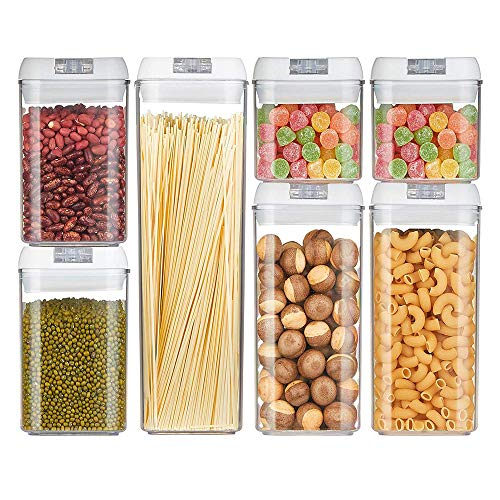 Airtight Food Storage Containers Set, Kitchen Storage And Pantry Containers, Cereal Containers, Flour Container, Food Containers With Lids, BPA Free Containers, Keep Food Fresh Dry And Organized (7 Pack, White)