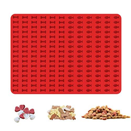 CS COSDDI Alfombrilla de silicona para hornear galletas para perros, 1,5 cm de hueso y pescado, molde para 192 galletas para perros y golosinas para perros, base para hornear bombones