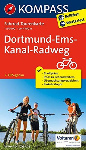 Fahrrad-Tourenkarte Dortmund-Ems-Kanal-Radweg: Fahrrad-Tourenkarte. GPS-genau. 1:50000. (KOMPASS-Fahrrad-Tourenkarten, Band 7053)