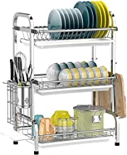 Dish Drying Rack-Premium 304 Stainless Steel-Utensil Holder Cutting Board Holder-Rustproof Dish Drainer with Removable Dra...