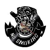 Enofvd No Fumar Bulldog Perro Reloj de Pared Perro Disco de Vinilo Reloj Colgante Cachorro Mascota Pug Bulldog Amante Regalo 12 Pulgadas