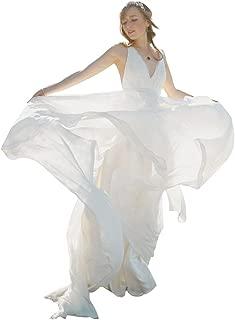 Women's V Neck Backless Bowknot Long Bohemain Chiffon Wedding Dress