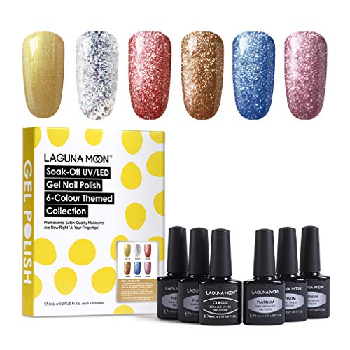 Lagunamoon Esmaltes Semipermanentes, 6pcs Kit de Uñas en Gel UV LED - Glam on the go