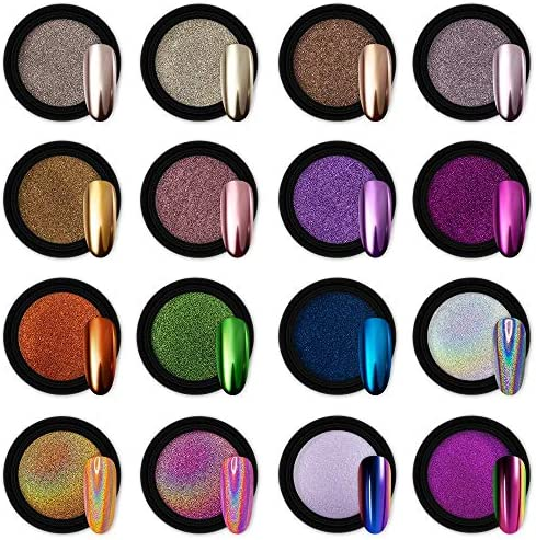 Artdone 16 Jars Chrome Nail Powder Metallic Mirror Effect Holographic Aurora Chameleon Pigment product image
