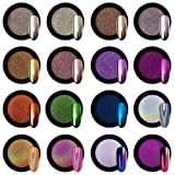 Artdone 16 Jars Chrome Nail Powder Metallic Mirror Effect Holographic Aurora Chameleon Pigment 1g/Jar for Nail Art Gel Polish Mermaid Unicorn Dipping Powder