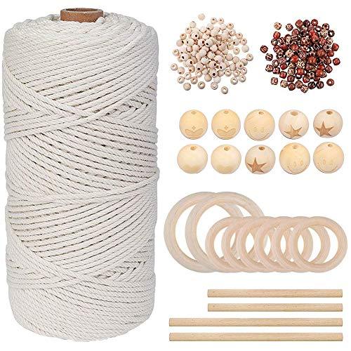 Cuerda de macramé natural de algodón de 3 mm x 200 m con 110 cuentas de madera, 8 anillos de madera y 4 varillas de tacos de madera, ideal para jardinería, manualidades, perchas de plantas