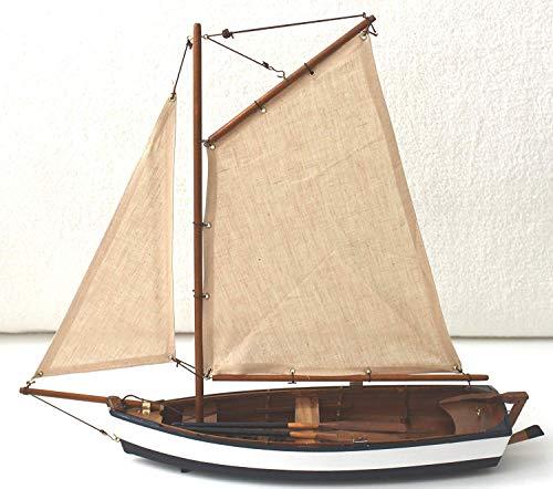 Segelboot Modell Länge 45cm Höhe 40cm Schiff aus Holz mit Segel Ruder Riemen
