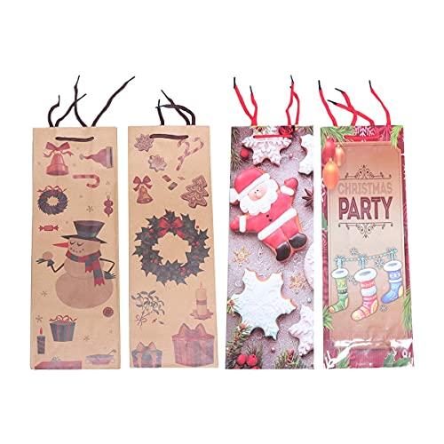 AETOK 4 bolsas de regalo de vino de Navidad para botellas de vino, delicado proceso de papel de cobre Kraft práctico organizador de cartón bolsas de papel para fiesta