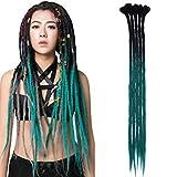 24'(60cm) SEGO 5PCS Dreadlocks Extensiones Rastas Africanas de Pelo Sintético [Negro a Azul Maya] Crochet Twist Braiding Hair