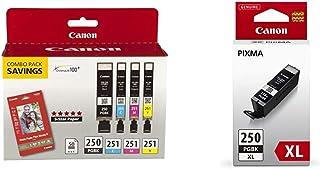 $79 » Canon PGI-250/CLI-251 with Photo Paper 50 Sheets Compatible to MG6320, iP7220 & MG5420, MX922, Black, Cyan, Magenta, Yello...