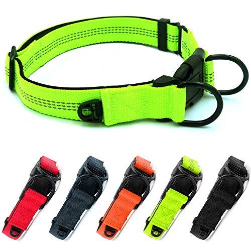 Beshine Collar ajustable para perros para perros grandes o medianos, neopreno de nailon reflectante con anillo de identificación independiente y anillo en D doble, duradero y cómodo, verde