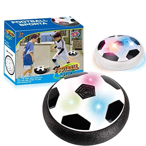 Fußball Disk Spielzeug mit LED Licht & Schaum Stoßstangen, Kinderspielzeug Schweben Fußball, Wiederaufladbarer Air Power Football, Indoor Outdoor Air Soccer Disk Toy
