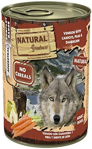Natural Greatness Comida Húmeda para Perros de Venado con Zanahoria, Pera y Diente de León. Pack de 6 Unidades. 400 gr Cada Lata