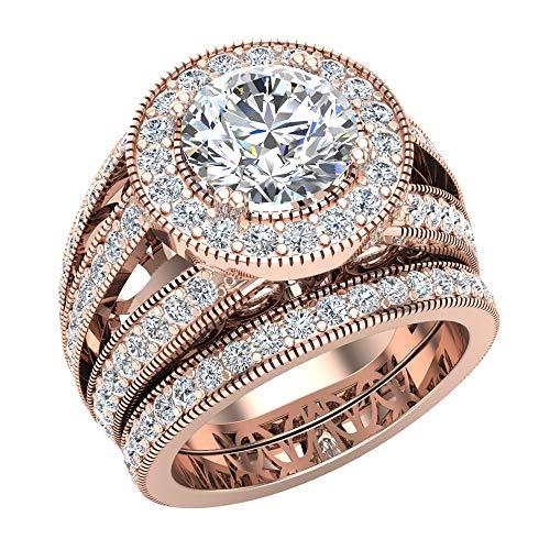 Large Moissanite Wedding Ring Set 14K Rose Gold Halo Rings for women 8.00 mm 3.95 carat (G, SI)