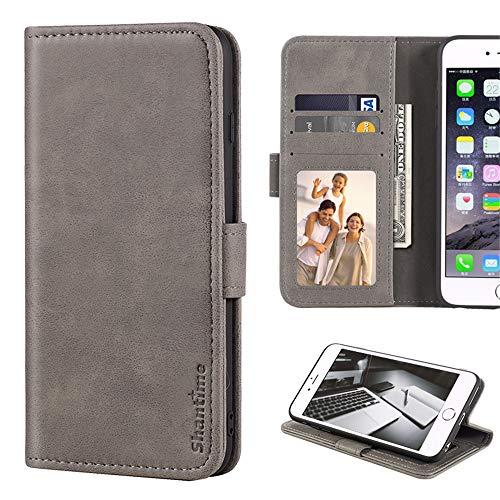 Samsung Galaxy Note 3 Neo, Lederhülle mit Geldbörse & Kartenfächern, weiche TPU-Rückseite, Magnetverschluss, Flip Hülle für Samsung Galaxy Note 3 Neo LTE + N7505, grau