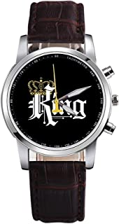 KKmoon KING QUEEN Quartz Movement Boys And Girls Watch Fashion Multi-functional Watches KING Brown