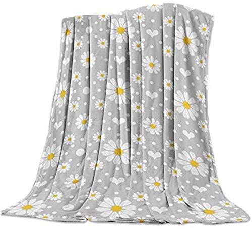 Manta de pelo largo súper suave, margaritas blancas sobre fondo gris, manta ligera y cálida decorativa para coche, viajes, 101 x 127 cm