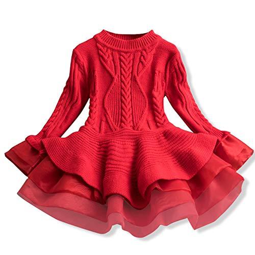 TTYAOVO Suéter para Niñas Vestido de Princesa de Punto de Manga Larga Tutú de Invierno Vestir 6-7 Años Rojo